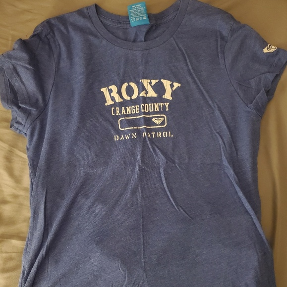 Roxy Tops - Roxy- Orange County Vintage fitted Blue Tee
